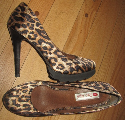Satin leopard platforms