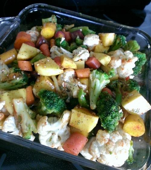 dish of veggies