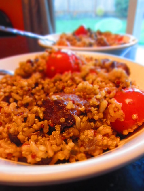 quinoa, tomatoes and beefless tips