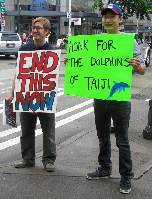 protesters at Japan Dolphin Day