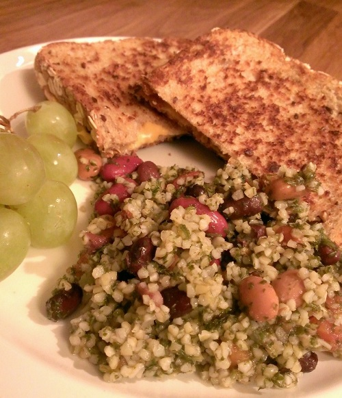 tabouli and grilled cheese