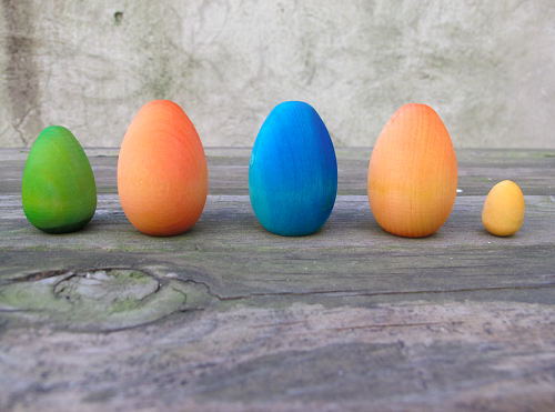 dyed wooden eggs