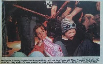 amy protesting fur at Nieman Marcus in Toledo OH 1999