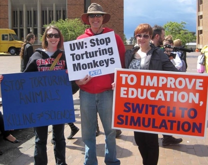 Wendy, Scott, Jean, protesting