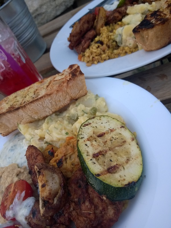 meal at vegan drinks